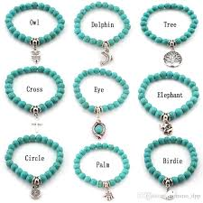 cross beads bracelet images Fashion turquoise beads bracelets tree owl dolphin cross palm jpg