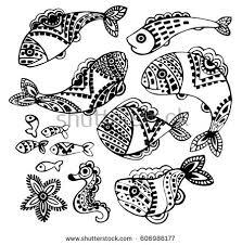 set beautiful black fish ornaments linear stock vector 606986177