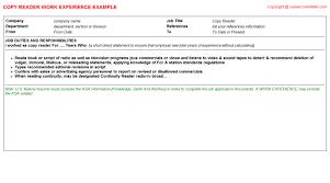 copy reader cv work experience samples