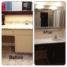 How To Paint New Kitchen Cabinets Before And After Bathroom Diy Painted Laminate Counters And