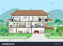 large detailed modern house interior cutaway stock vector 99608288