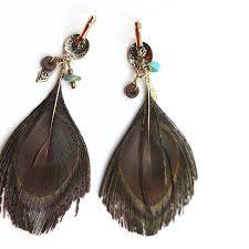 peacock feather earrings s handmade peacock feather earrings women s bohemia drop feather