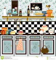 country style retro kitchen early color technique royalty free