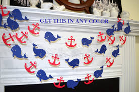 whale garland nautical anchor whale decoration nautical baby