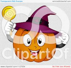 happy halloween no background cartoon of a happy halloween pumpkin with a witch hat and sucker