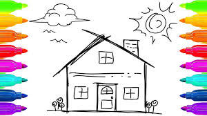how to draw house clouds sun and trees art for children