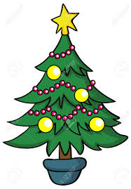 illustration cartoon christmas tree on white background royalty