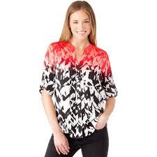 calvin klein blouses calvin klein collection printed crew neck roll sleeve top