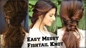 easy indian hairstyles for school easy everyday messy fishtail ponytail for school college work