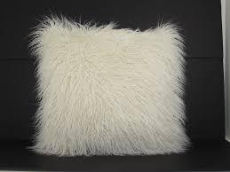 faux fur mongolian pillow white shop your way online shopping