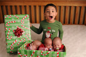 christmas card picture for triplets plus one can be adapted for