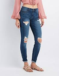 Destroyed High Waisted Jeans Skinny Jeans High Waist Ripped U0026 Cropped Charlotte Russe