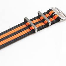bracelet montre images 22mm bracelet montre nylon tissu noir et orange de qualit jpg