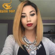 2016 new fashion 1b t27 ombre full lace wigs human hair two tone