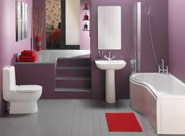 Matching Pedestal Sink And Toilet Bathroom Women Bathroom Design With Bold Purple Wall And Corner