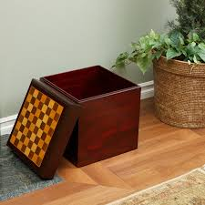 Wood Ottoman Chessboard Top Wooden Storage Ottoman Modern Living Room Los