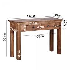 Schreibtisch Mit Schubladen Finebuy Konsolentisch Massivholz Akazie Konsole Mit 2 Schubladen