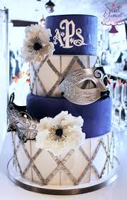masquerade ball cake topsy turvy peacock birthday blue purple