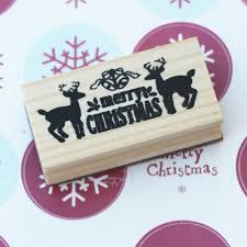christmas design with deers wooden rubber craft stamp xmas