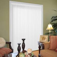 hampton bay vertical blinds blinds the home depot smooth white pvc vertical blind 78 in w