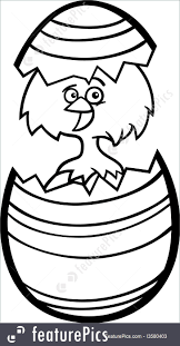 illustration of chicken in easter egg cartoon for coloring