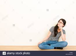 Asian Wooden Floor Mixed Race Asian Woman Thinking Question Feel Confusion Wearing