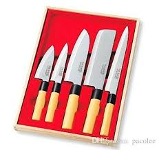japanese kitchen knife set of 5 wooden box case mr takaaki