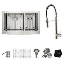 kraus farmhouse sink 33 kraus all in one farmhouse apron front stainless steel 33 in double