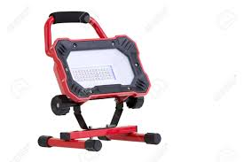 battery powered work lights red portable battery operated metal led work light isolated on