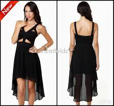 custom made black cut out high low chiffon party dresses club