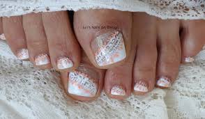 Toe Nail Art Designs For Beginners Wedding Toes Art Design Tutorial White On White Side French Lace