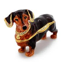 brown dachshund trinket box with swarovski fantasyard
