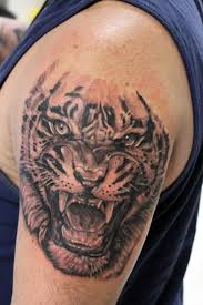 black and grey tiger roaring tiger arm in black and