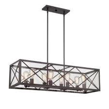 Rectangle Pendant Light Bronze Pendant Lights Lighting The Home Depot