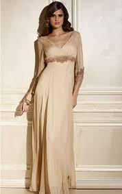 length a line deep v neck champagne chiffon formal evening dress
