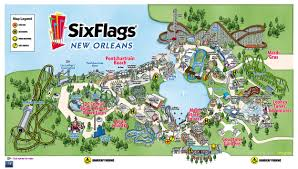 Map Of New Orleans Area by Unofficial Six Flags New Orleans Information Park Map