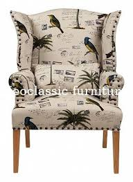 French Wingback Chair Comfortable New Design Antique Wooden Frame Upholstery French Wing