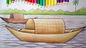 how to draw a boat house for children with coloring pages drawing