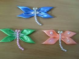 diy kanzashi satin ribbon dragonfly