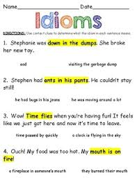 idioms worksheet read the sentence use context clues to figure