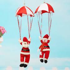 santa claus snowman in parachute christmas tree hanging xmas