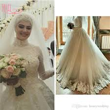 discount modest muslim plus size wedding dresses with high neck
