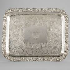 engraved tray rectangular silvered metal tray engraved with salvandy feray