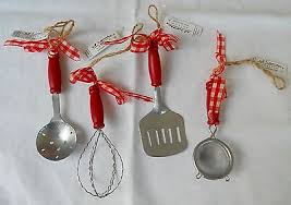 set of 4 miniature kitchen utensils ornaments doll house