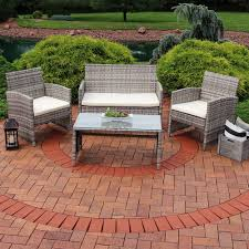 Patio Table Ls Sunnydaze Lomero 4 Lounger Patio Furniture Set With Brown
