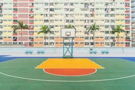colourful basketball court wall mural eazywallz 1