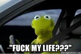 Fuck Life Meme - fuck my life kermit the frog driving meme generator