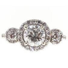 princess three stone halo engagement ring wedding band