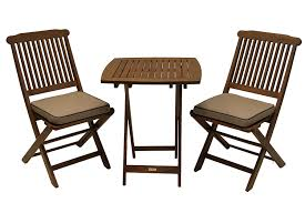 small patio table with two chairs amazon com outdoor interiors eucalyptus 3 piece square bistro