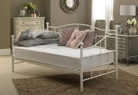 Single Metal Day Bed Frame Venice Single Metal Day Bed 3ft In White Quilted Mattress Bed